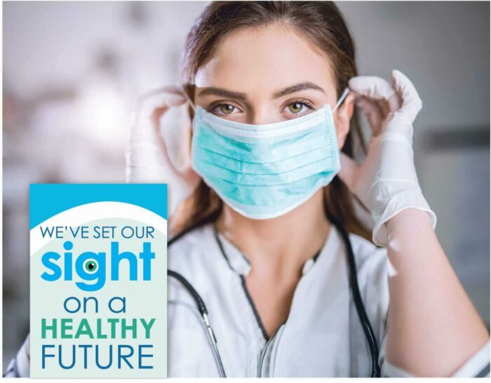 Nurse with a mask and the words, We've set our sight on a healthy future