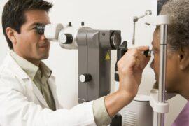 Doctor giving an eye exam